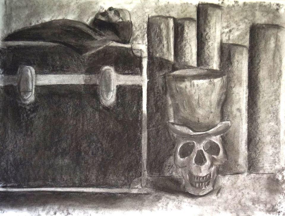 Stillevens in houtskool